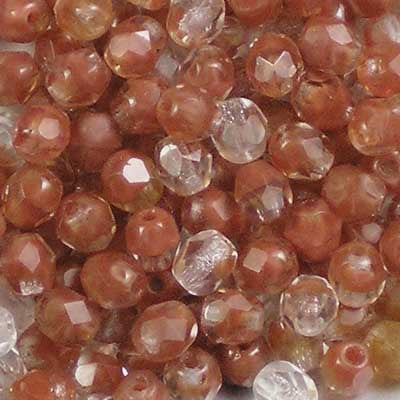 Brown & Crystal - 4mm Czech Fire-Polished Beads