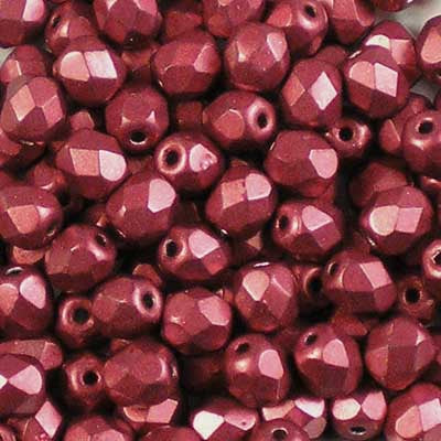 ColorTrends: Metallic Cherry Tomato - 4mm Czech Fire-Polished Beads