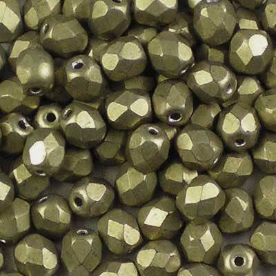 ColorTrends: Metallic Golden Lime - 4mm Czech Fire-Polished Beads