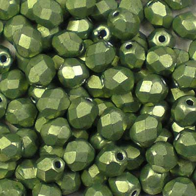 ColorTrends: Metallic Greenery - 4mm Czech Fire-Polished Beads