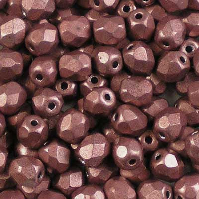 ColorTrends: Metallic Grenadine - 4mm Czech Fire-Polished Beads