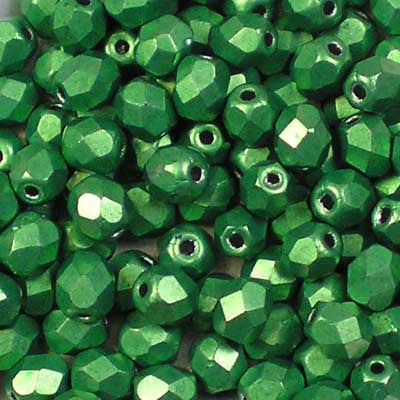 ColorTrends: Metallic Kale - 4mm Czech Fire-Polished Beads