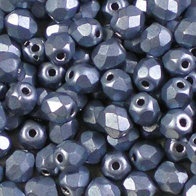 ColorTrends: Metallic Neutral Grey - 4mm Czech Fire-Polished Beads