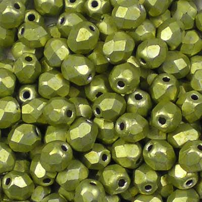 ColorTrends: Metallic Primrose Yellow - 4mm Czech Fire-Polished Beads