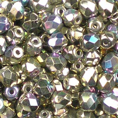 Glittery Crystal Argentic - 4mm Czech Fire-Polished Beads
