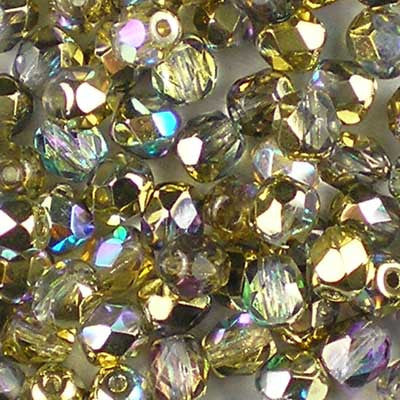 Crystal Rainbow Golden - 4mm Czech Fire-Polished Beads