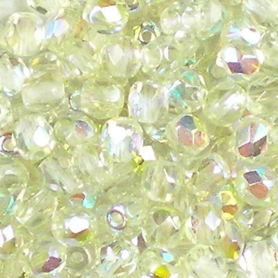 Crystal Rainbow Green - 4mm Czech Fire-Polished Beads