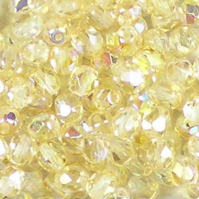 Crystal Rainbow Yellow - 4mm Czech Fire-Polished Beads