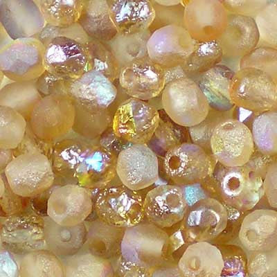 Etched Crystal Rainbow Brown - 4mm Czech Fire-Polished Beads