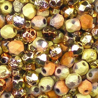 Etched Crystal California Gold Rush - 4mm Czech Fire-Polished Beads