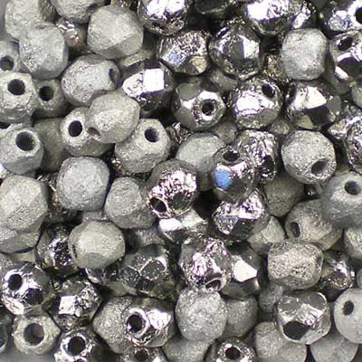 Etched Crystal Chrome - 4mm Czech Fire-Polished Beads