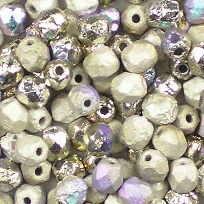 Etched Crystal Glittery Argentic - 4mm Czech Fire-Polished Beads