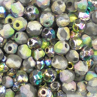 Etched Crystal Vitrail - 4mm Czech Fire-Polished Beads