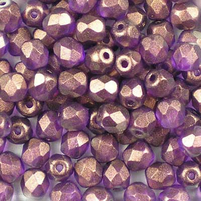 Golden Touch (Halo) Magenta - 4mm Czech Fire-Polished Beads