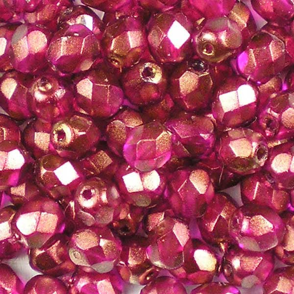 Halo Rose Madder - 4mm Czech Fire-Polished Beads