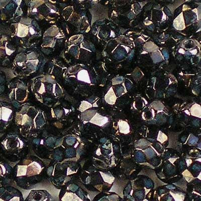 Jet Bronze Picasso - 4mm Czech Fire-Polished Beads