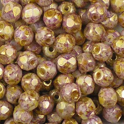 Lila (Lilac) Gold Lustre - 4mm Czech Fire-Polished Beads