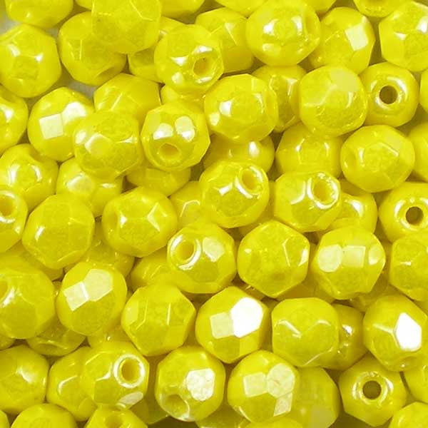 Yellow Lustre - 4mm Czech Fire-Polished Beads