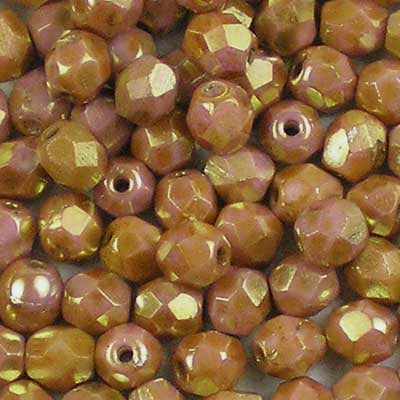 Lustred Pink Alabaster - 4mm Czech Fire-Polished Beads
