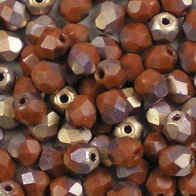 Matte Apollo Umber - 4mm Czech Fire-Polished Beads