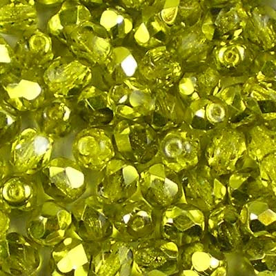 Metallic Ice Crystal Citron - 4mm Czech Fire-Polished Beads