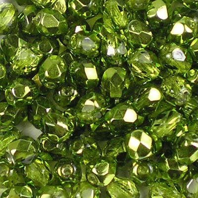 Metallic Ice Crystal Olive - 4mm Czech Fire-Polished Beads