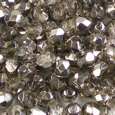 Metallic Ice Crystal Smoky Silver - 4mm Czech Fire-Polished Beads