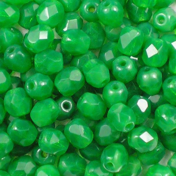 Milky Emerald - 4mm Czech Fire-Polished Beads