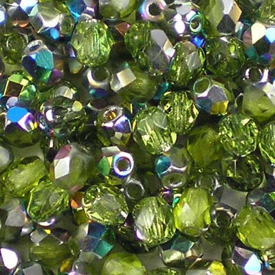 Olivine Vitrail - 4mm Czech Fire-Polished Beads