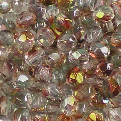 Pink Lustre Crystal - 4mm Czech Fire-Polished Beads