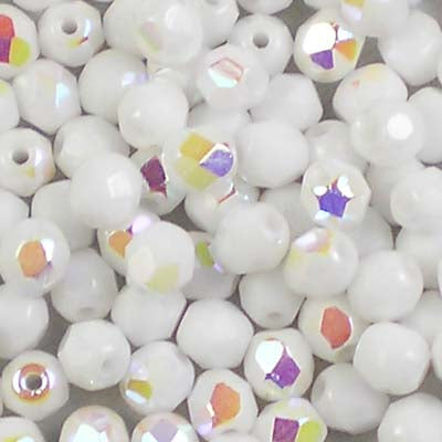 White AB - 4mm Czech Fire-Polished Beads