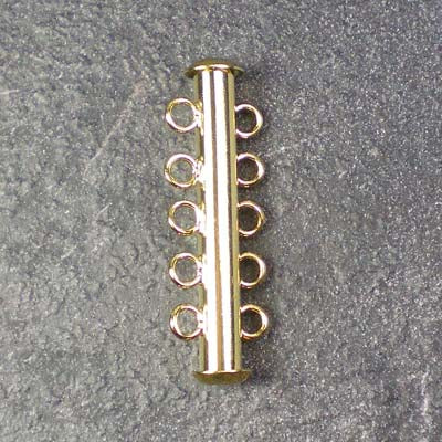 Five-Strand Gold-Plated Tube Slide Clasp