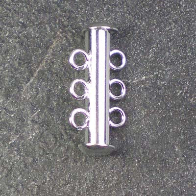 Three-Strand Silver-Plated Tube Slide Clasp