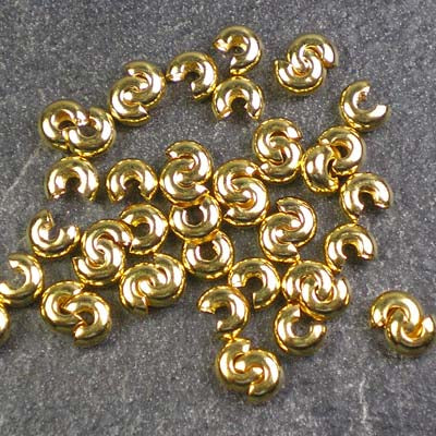 6g Gold-Plated 4mm Crimp Bead Covers