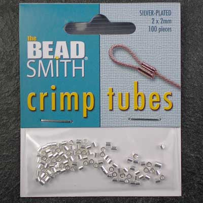 Silver-Plated 2mm Crimp Tubes x 100