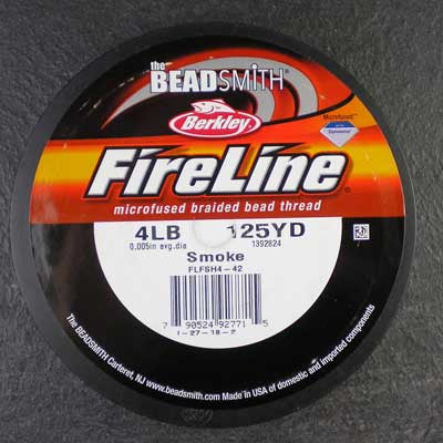 FireLine 4lb Beading Thread Smoke Gray – 125 yards