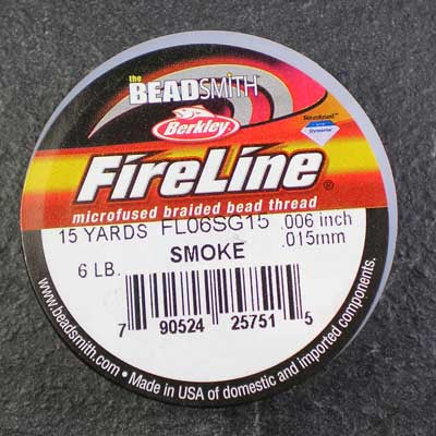 FireLine 6lb Beading Thread 0.16mm/.006 Inch Smoke – 15 yards