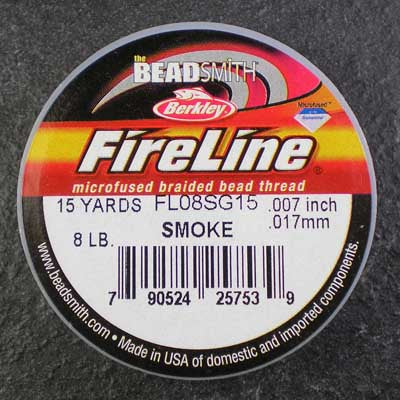 FireLine 8lb Beading Thread 0.17mm/.007 Inch Smoke – 15 yards