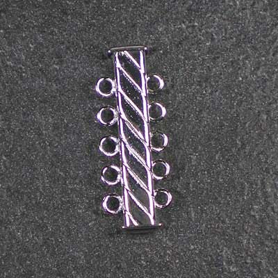 Five-Strand, Fluted, Rectangular Silver-Plated Tube Slide Clasp
