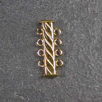 Four-Strand, Fluted, Rectangular Gold-Plated Tube Slide Clasp