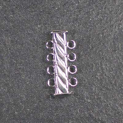 Four-Strand, Fluted, Rectangular Silver-Plated Tube Slide Clasp
