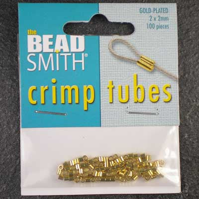 Gold-Plated 2mm Crimp Tubes x 100