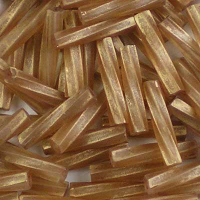 TW2712-1262 Matte Transparent Gold-Antiqued Topaz - Miyuki 12mm Twisted Bugle Beads