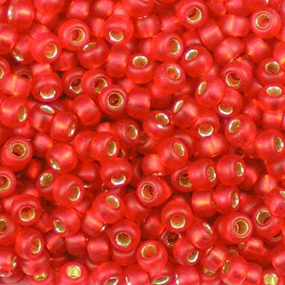 8-0010F Matte Silver-Lined Flame Red - Miyuki 8/0 Seed Beads