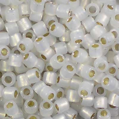 DBL-0221 Gilt-Lined White Opal - Miyuki 8/0 Double Delica Beads