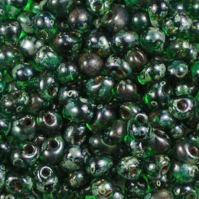 DP-4507 Transparent Green Picasso - Miyuki 3.4mm Drop Beads