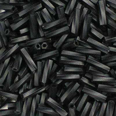 TW206-0401F Opaque Matte Black Miyuki 6mm Twisted Bugle Beads