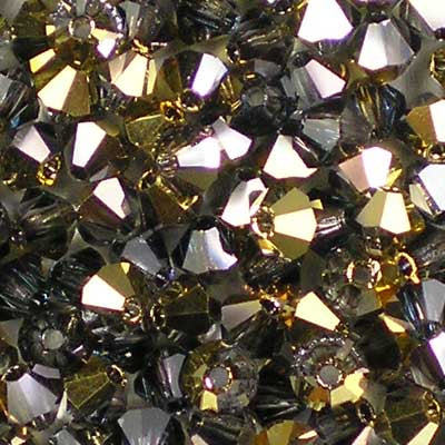 Crystal Aurum Half Coat - 4mm Preciosa Czech Glass Bicone Beads