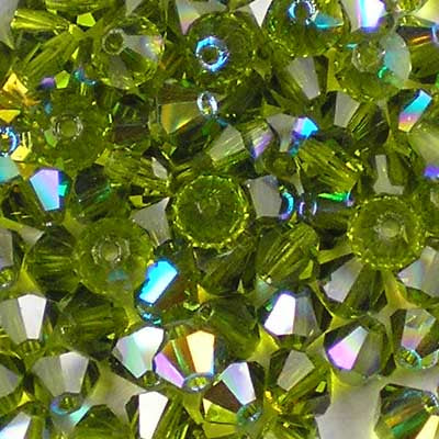 Olivine AB - 4mm Preciosa Czech Glass Bicone Beads
