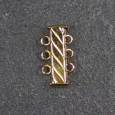 Three-Strand, Fluted, Rectangular Gold-Plated Tube Slide Clasp